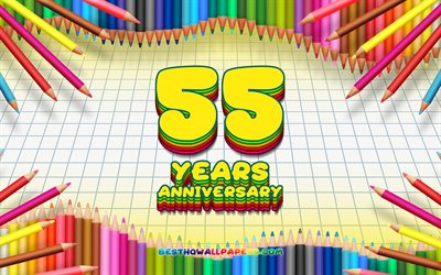 4k, 55th anniversary sign, colorful pencils frame, Anniversary concept, yellow checkered background, 55th anniversary, creative, 55 Years Anniversary