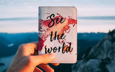 See the World, motivation, inspiration, writing on a notepad, grung world map, tourism concepts