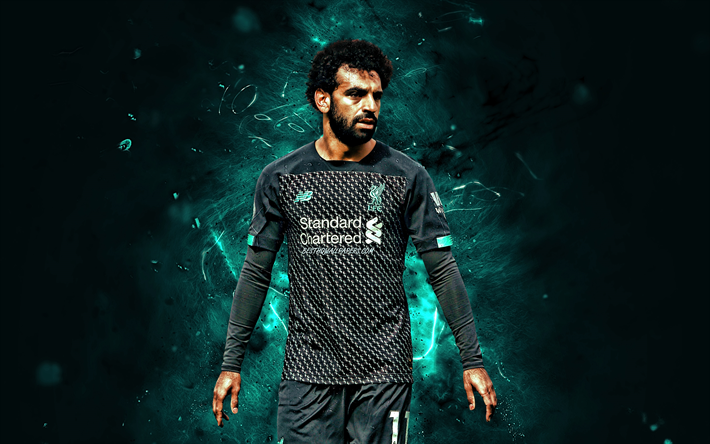 Mohamed Salah, black uniform, Liverpool FC, egyptian footballers, goal, LFC, fan art, Salah, Premier League, neon lights, Mohamed Salah art, Salah Liverpool, Mo Salah, soccer