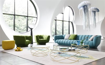 stylish living room interior, white living room, colored sofas, jellyfish chandeliers, modern interior design