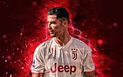 Cristiano Ronaldo, red neon light, 2019, Juventus FC, CR7, new uniform, portuguese footballers, Italy, CR7 Juve, Bianconeri, soccer, football stars, Serie A
