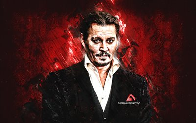 Johnny Depp, american actor, portrait, red stone background, popular actors
