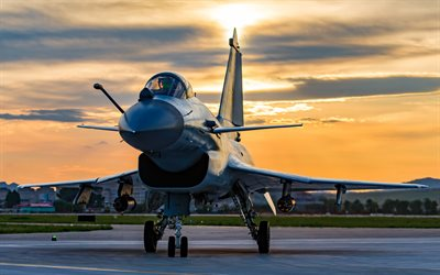 Chengdu J-10, chinese fighter, J-10, evening, sunset, military airfield, fighters