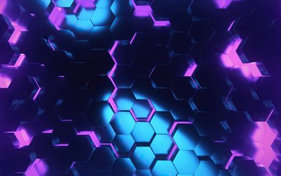 4k, violet hexagons, 3D art, creative, honeycomb, background with hexagons, violet hexagons patterns, violet hexagons background, hexagons textures, violet backgrounds, hexagons texture