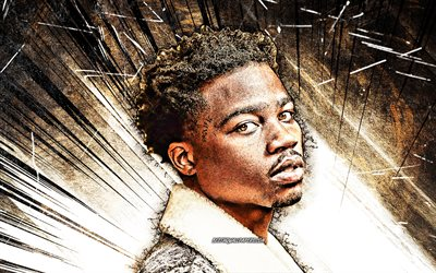 4k, Roddy Ricch, brown abstract rays, american rapper, music stars, fan art, Rodrick Wayne Moore Jr, american celebrity, portrait, grunge art, Roddy Ricch 4K