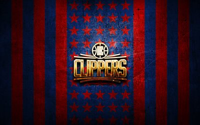 Drapeau Los Angeles Clippers, NBA, fond métal bleu rouge, club de basket américain, logo Los Angeles Clippers, USA, basket-ball, logo doré, Los Angeles Clippers, LA Clippers