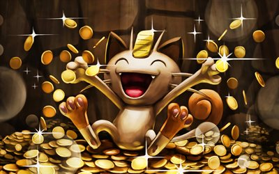 Meowth, artwork, Nyaasu, manga, monsters, Pokemons, Meowth Pokemon