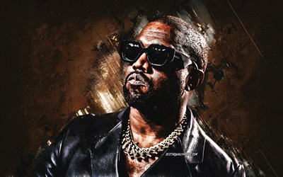 Kanye West, american rapper, portrait, yellow stone background