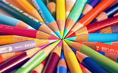 colored pencils, crayons in a circle, target concept, pencils, different color concepts, color selection concepts