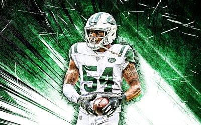 4k, Avery Williamson, art grunge, New York Jets, football américain, NFL, Avery Milton Williamson, NY Jets, Avery Williamson Jets, rayons abstraits verts, Avery Williamson 4K