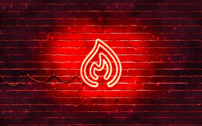 Fire neon icon, 4k, red background, neon symbols, Fire, creative, neon icons, Fire sign, ecology signs, Fire icon, ecology icons