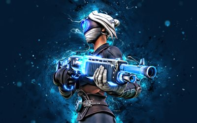 Focus, 4k, blue neon lights, 2020 games, Fortnite Battle Royale, Fortnite characters, Focus Skin, Fortnite, Focus Fortnite