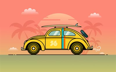 Volkswagen Beetle, 4k, travel concepts, minimalism, travel by car, Yellow Beetle