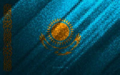 Flag of Kazakhstan, multicolored abstraction, Kazakhstan mosaic flag, Europe, Kazakhstan, mosaic art, Kazakhstan flag