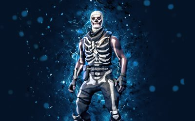 Skull Trooper, 4k, blue neon lights, 2020 games, Fortnite Battle Royale, Fortnite characters, Skull Trooper Skin, Fortnite, Skull Trooper Fortnite