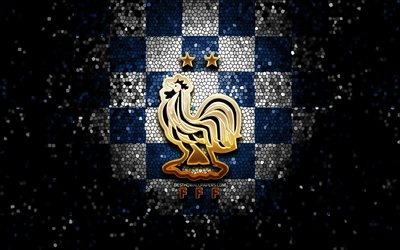 French football team, glitter logo, UEFA, Europe, green white checkered background, mosaic art, soccer, France National Football Team, FFF logo, football, France, FFF new logo