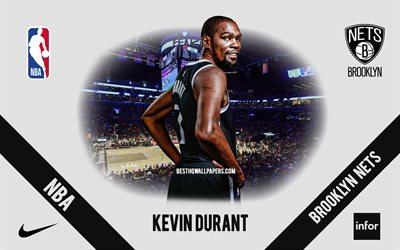 Kevin Durant, Brooklyn Nets, American Basketball Player, NBA, portrait, USA, basketball, Barclays Center, Brooklyn Nets logo