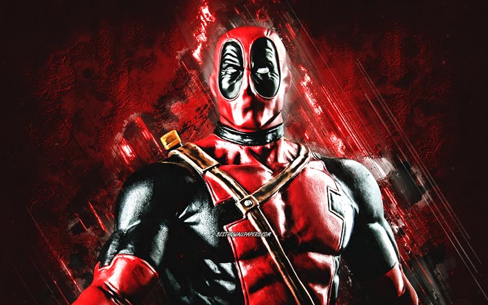 Deadpool, superhero, character, red stone background, main character