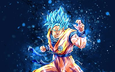 Son Goku, 4k, blue neon lights, Dragon Ball, warrior, Dragon Ball Super, DBS, Son Goku DBS, DBS characters