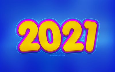 2021 New Year, blue background, Happy New Year 2021, 2021 3D background, 2021 concepts, 2021 Blue background