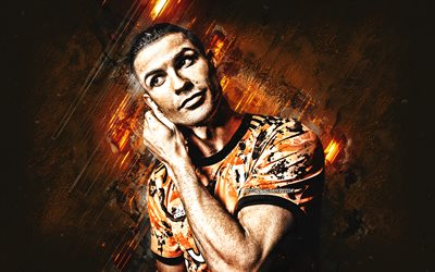 Cristiano Ronaldo, CR7, portrait, football star, Juventus orange uniforms, football