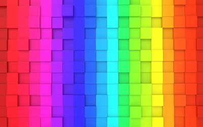 colorful cubes, 4k, 3D cubes texture, rainbow backgrounds, creative, colorful backgrounds, square textures, abstract backgrounds