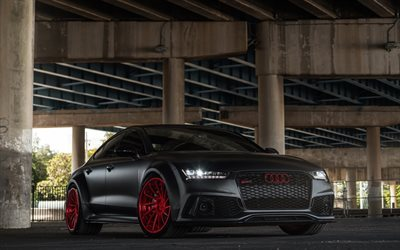 Herunterladen Hintergrundbild Audi Rs7 Sportback Schwarz Audi