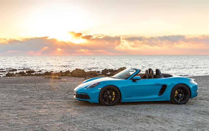 Porsche Boxster GTS, 4k, 2018 cars, supercars, blue Boxster, Porsche