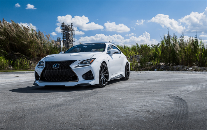 Download Wallpapers Lexus RCF, 2018, Luxury White Sports