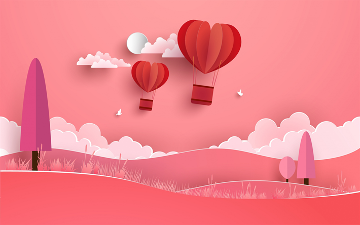 Download Wallpapers Valentines Day February 14 Origami Abstraction