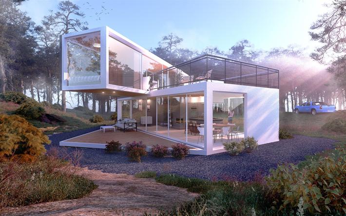 Scarica sfondi moderna casa di design casa di campagna for Casa moderna in campagna