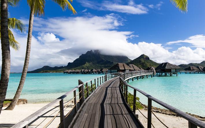 Scarica Sfondi Bora Bora Mare Estate Viaggio Vacanza Blu Laguna