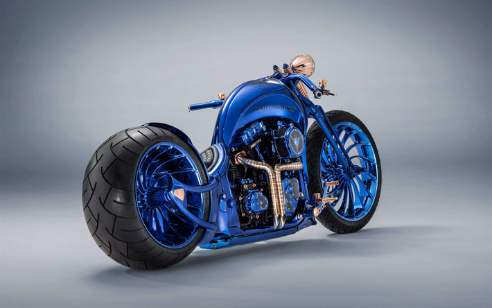 Harley Davidson Blue Edition, 2019, luxury blue chopper, unique motorcycles, american choppers, Harley Davidson