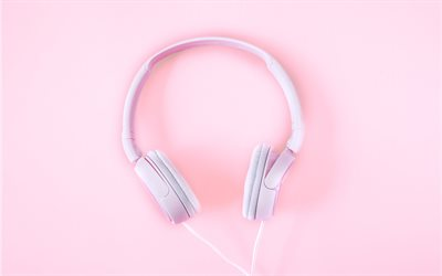pink headphones, music, headphones on a pink background, music concepts