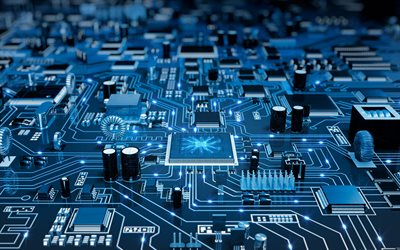 Blue Printed circuit board, chip, technology concepts, modern technologies, Printed circuit board texture