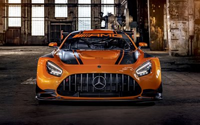 Mercedes-Benz AMG GT3, 2020, front view, orange supercar, tuning Mercedes, new orange AMG GT3, German supercars, Mercedes