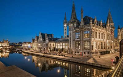 Ghent, Post Plaza, evening, chapel, Ghent cityscape, Ghent landmark, Belgium