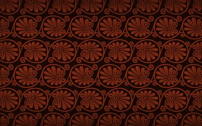 brown floral pattern, 4k, floral greek ornaments, background with floral ornaments, floral textures, floral patterns, brown floral background, greek ornaments