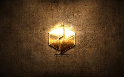 Ubiq golden logo, cryptocurrency, brown metal background, creative, Ubiq logo, cryptocurrency signs, Ubiq