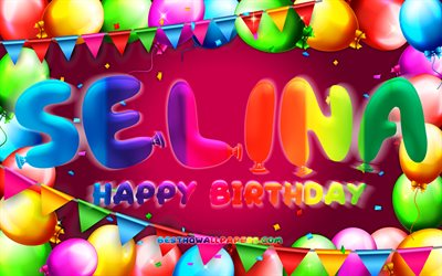 Happy Birthday Selina, 4k, colorful balloon frame, Selina name, purple background, Selina Happy Birthday, Selina Birthday, popular german female names, Birthday concept, Selina