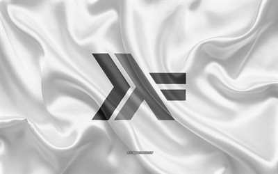 Haskell logo, white silk texture, Haskell emblem, programming language, Haskell, silk background