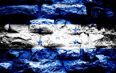 Honduras flag, grunge brick texture, Flag of Honduras, flag on brick wall, Honduras, Europe, flags of North America countries