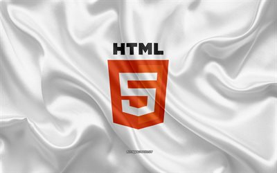 HTML5 logo, white silk texture, HTML5 emblem, programming language, HTML, silk background