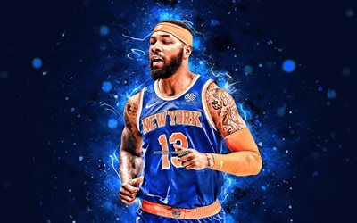 Marcus Morris, 4k, New York Knicks, 2020, NBA, blue neon lights, basketball stars, Marcus Thomas Morris Sr, NY Knicks, basketball, USA, Marcus Morris New York Knicks, creative, Marcus Morris 4K