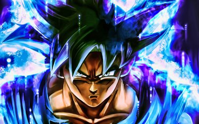 Son Goku, 4k kuvamateriaali, DBS merkkiä, Dragon Ball, fan art, Dragon Ball Super, DBS, blue fire, Son Goku DBS, Son Goku 4K