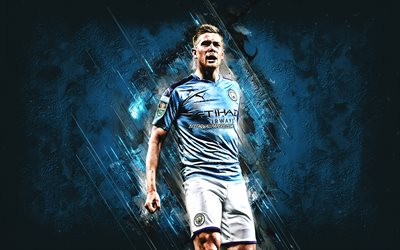 Kevin De Bruyne, Manchester City FC, Belgian football player, attacking midfielder, portrait, blue stone background, Premier League, football