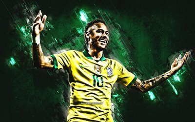 Neymar Jr, Brazil national football team, portrait, green stone background, Brazilian soccer player, Brazil, Neymar