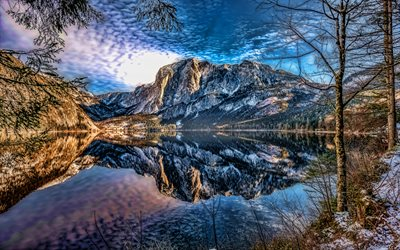 Lake Altaussee, 4k, HDR, winter, beautiful nature, Altaussee, Styria, Austria, Europe, Altaussee Lake