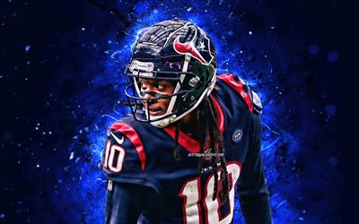 DeAndre Hopkins, 4k, wide receiver, Houston Texans, american football, NFL, DeAndre Rashaun Hopkins, National Football League, neon lights, DeAndre Hopkins Houston Texans