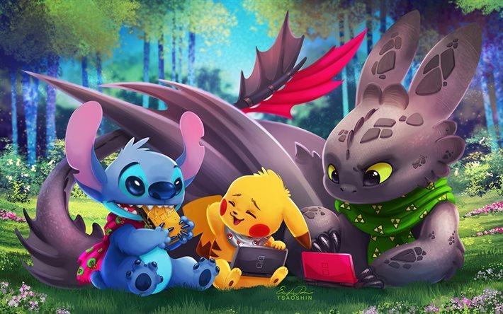 Scarica sfondi lilo e stitch how to train your dragon pikachu